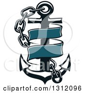 Clipart Of A Dark Blue Anchor With A Chain And Ribbon Banner Royalty Free Vector Illustration by Vector Tradition SM