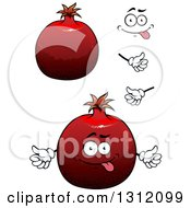 Clipart Of A Cartoon Face Hands And Pomegranates 2 Royalty Free Vector Illustration