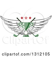 Clipart Of A Golf Ball Green Trophy And Crossed Clubs With Wings And Red Stars Royalty Free Vector Illustration