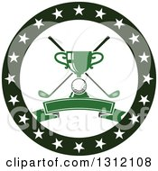 Clipart Of A Golf Ball Green Trophy And Crossed Clubs In A Circle Of Stars With A Blank Banner Royalty Free Vector Illustration by Vector Tradition SM