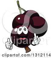 Clipart Of A Cartoon Currants Character Giving A Thumb Up Royalty Free Vector Illustration
