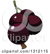 Clipart Of Cartoon Dark Currants Royalty Free Vector Illustration by Vector Tradition SM