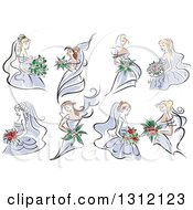Clipart Of Sketched Brides In Periwinkle Dresses Royalty Free Vector Illustration