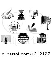 Clipart Of College University Book And Graduation Designs Royalty Free Vector Illustration by Vector Tradition SM
