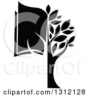 Clipart Of A Black And White Tree And Half Book Royalty Free Vector Illustration by Vector Tradition SM