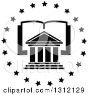 Clipart Of A Black And White College And Open Book In A Circle Of Stars Royalty Free Vector Illustration by Vector Tradition SM