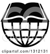 Clipart Of A Black And White Open Book On A Wire Globe Royalty Free Vector Illustration