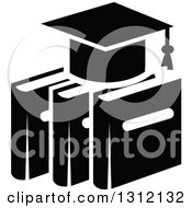 Clipart Of A Black And White Graduation Cap On Books Royalty Free Vector Illustration by Vector Tradition SM