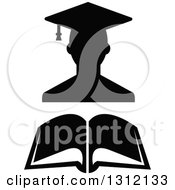 Clipart Of A Black And White Graduate Wearing A Cap Over An Open Book Royalty Free Vector Illustration by Vector Tradition SM