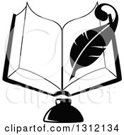 Clipart Of A Black And White Feather Quill Pen Writing In An Open Book Over An Ink Well Royalty Free Vector Illustration