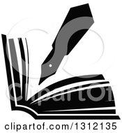 Clipart Of A Black And White Fountain Pen Writing In An Open Book Royalty Free Vector Illustration