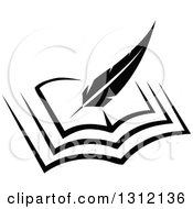 Clipart Of A Black And White Feather Quill Pen Writing In An Open Book Royalty Free Vector Illustration