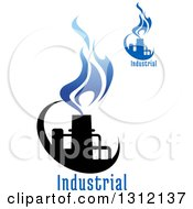 Clipart Of A Black And Blue Natural Gas And Flame Designs With Text 4 Royalty Free Vector Illustration