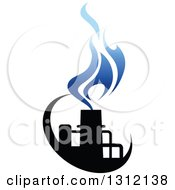 Clipart Of A Black And Blue Natural Gas And Flame Design 4 Royalty Free Vector Illustration