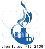 Clipart Of A Blue Natural Gas And Flame Design 4 Royalty Free Vector Illustration