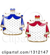 Clipart Of Patterned Royal Mantle With Red And Blue Crowns And Drapes Royalty Free Vector Illustration