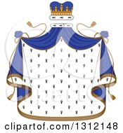Clipart Of A Patterned Royal Mantle With A Blue Crown And Drapes Royalty Free Vector Illustration