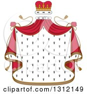 Clipart Of A Patterned Royal Mantle With A Red Crown And Drapes Royalty Free Vector Illustration