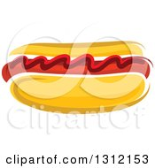 Clipart Of A Cartoon Hot Dog With Ketchup Royalty Free Vector Illustration