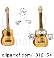 Clipart Of A Cartoon Face Hands And Acoustic Guitars Royalty Free Vector Illustration
