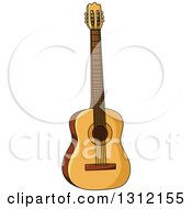 Clipart Of A Cartoon Acoustic Guitar 2 Royalty Free Vector Illustration by Vector Tradition SM