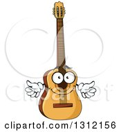 Clipart Of A Cartoon Acoustic Guitar Character Giving Two Thumbs Up Royalty Free Vector Illustration by Vector Tradition SM