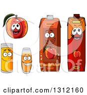 Clipart Of A Cartoon Apricot Or Nectarine Character And Juices Royalty Free Vector Illustration