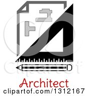 Clipart Of A Building Blueprint Right Angle And Pencil Over Text Royalty Free Vector Illustration by Vector Tradition SM
