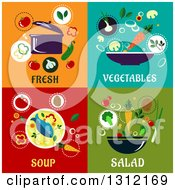 Clipart Of Fresh Vegetables Soup And Salad Flat Designs Royalty Free Vector Illustration