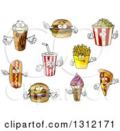 Clipart Of Cartoon Takeout Coffee Hamburger Popcorn Soda Hot Dog Cheeseburger Ice Cream Cone French Fries And Pizza Characters Royalty Free Vector Illustration