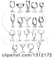 Clipart Of Black And White Wine Glases Royalty Free Vector Illustration