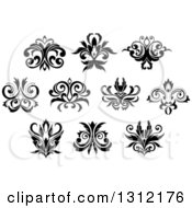 Clipart Of Black And White Vintage Floral Design Elements 11 Royalty Free Vector Illustration by Vector Tradition SM