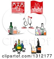 Clipart Of Wine Glasses And Alcohol Bottles Royalty Free Vector Illustration