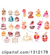 Clipart Of Cakes And Numbers Royalty Free Vector Illustration