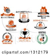 Clipart Of Basketball Trophy And Hoop Sports Designs With Text 2 Royalty Free Vector Illustration