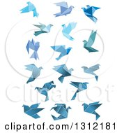 Clipart Of Flying Blue Origami Pigeons And Doves Royalty Free Vector Illustration
