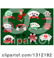 Clipart Of Joker Dice And Playing Card Casino Designs On Green Royalty Free Vector Illustration by Vector Tradition SM