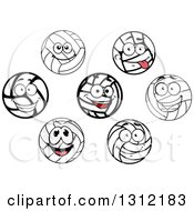 Clipart Of Happy Volleyball Characters Royalty Free Vector Illustration