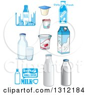 Clipart Of Yogurt Milk Bottles And Cartons Royalty Free Vector Illustration by Vector Tradition SM