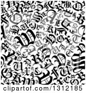 Clipart Of A Seamless Background Pattern Of Black And White Old English Alphabet Letters Royalty Free Vector Illustration