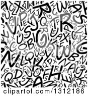 Clipart Of A Seamless Background Pattern Of Black And White Capital Alphabet Letters 2 Royalty Free Vector Illustration