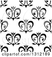 Clipart Of A Seamless Background Pattern Of Black Floral Hearts Royalty Free Vector Illustration