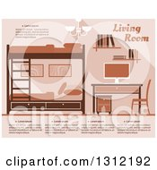 Clipart Of A Brown Bedroom With Bunk Beds And A Desk Royalty Free Vector Illustration