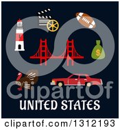 United States Flat Cultural Icons On Blue