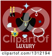 Clipart Of A Luxury Flat Design Of Gems And Jewelery On Red Royalty Free Vector Illustration
