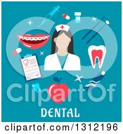 Clipart Of A Dental Flat Design Of A Hygienist With Tools On Blue Royalty Free Vector Illustration