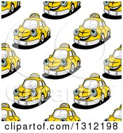 Seamless Pattern Background Of Happy Yellow Taxi Cabs