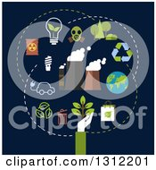 Clipart Of A Flat Design Of A Hand And Conservation Icons Over Dark Blue Royalty Free Vector Illustration