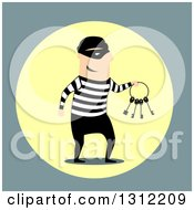 Clipart Of A Flat Design Of A Male Robber Holding Keys Royalty Free Vector Illustration