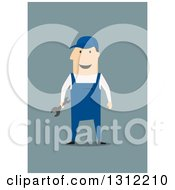 Poster, Art Print Of Flat Design Of A Happy White Mechanic Holding A Wrench On Blue